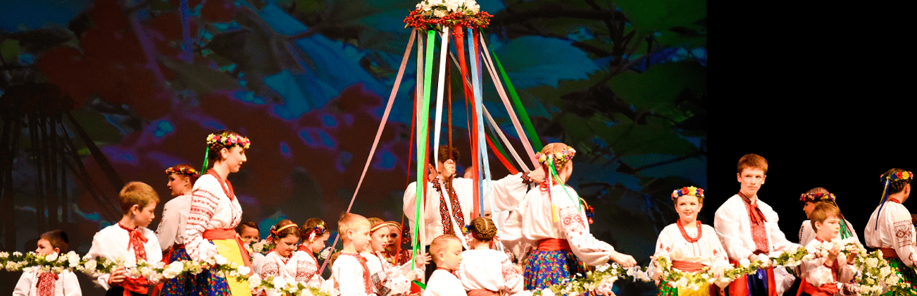 Chaban slideshow image of dancers on stage in various age/dance groups